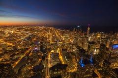 Vista aerea di penombra del centro della città Fotografia Stock Libera da Diritti