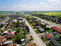 Vista aerea di piccola città rurale americana Fotografia Stock