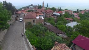 Vista aerea di piccola città verde della montagna video d archivio