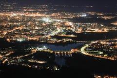 Vista aerea di Po del fiume e di Torino fotografie stock libere da diritti