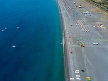 Vista aerea di Praia una spiaggia della giumenta, provincia di Cosenza, Calabria, Italia 06/26/2017 Immagine Stock