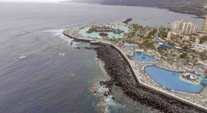 Vista aerea di Puerto de la Cruz, Tenerife Fotografia Stock