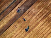 Vista aerea di raccolto meccanico di agricoltura della mietitrebbiatrice Immagini Stock Libere da Diritti