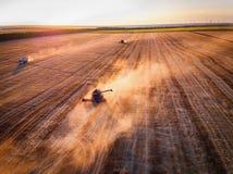 Vista aerea di raccolto meccanico di agricoltura della mietitrebbiatrice Fotografie Stock