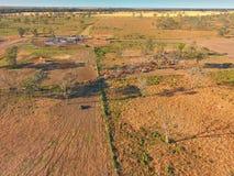 Vista aerea di raduno del bestiame di entroterra Immagine Stock Libera da Diritti