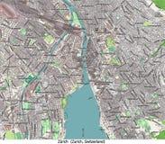 Vista aerea di ricerca della Svizzera Europa della città di Zurigo ciao Royalty Illustrazione gratis