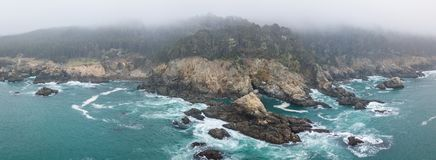 Vista aerea di Rocky Northern California Coast Fotografia Stock