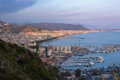 Vista aerea di Salerno in Italia Fotografia Stock