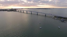Vista aerea di Sarasota del centro, Florida archivi video