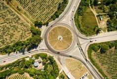 Vista aerea di scambio della strada principale Fotografie Stock