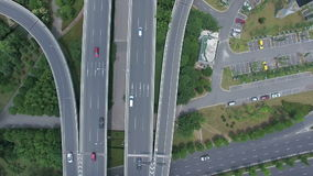 Vista aerea di scambio della strada principale a Nanchino archivi video