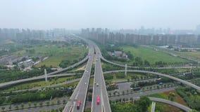 Vista aerea di scambio della strada principale a Nanchino stock footage