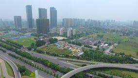 Vista aerea di scambio della strada principale a Nanchino video d archivio