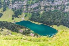 Vista aerea di Seealpsee (lago) Fotografia Stock Libera da Diritti