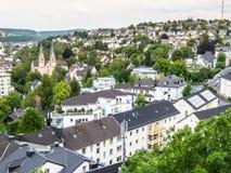 Vista aerea di Siegen, città in Germania Fotografie Stock