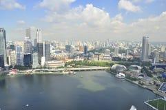 Vista aerea di Singapore sopra la baia Immagini Stock