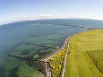 Vista aerea di South Park e dell'isola del montone nella baia di Galway immagine stock libera da diritti