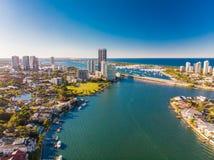 Vista aerea di Southport sulla Gold Coast, Queendsland, australe Fotografie Stock