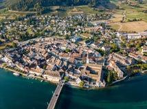 Vista aerea di Stein Am Rhine, Sciaffusa, Svizzera immagini stock