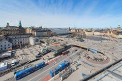 Vista aerea di Stoccolma e di Slussen da Katarinahissen Fotografia Stock