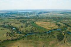 Vista aerea di terreno coltivabile Fotografie Stock