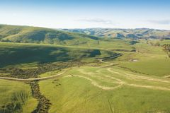 Vista aerea di terreno coltivabile in Gippsland del sud fotografia stock
