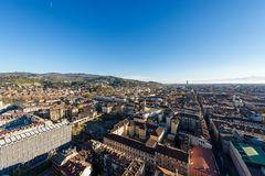 Vista aerea di Torino con le alpi italiane - Italia Fotografie Stock