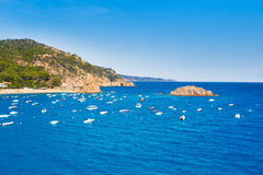 Vista aerea di Tossa de Mar in Costa Brava di Girona fotografia stock