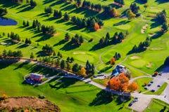 Vista aerea di un campo da golf in Stowe, Vermont Fotografia Stock