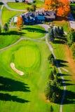 Vista aerea di un campo da golf in Stowe, Vermont Immagini Stock