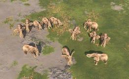 Vista aerea di un gregge dell'elefante royalty illustrazione gratis