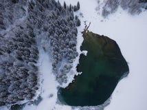 Vista aerea di un lago della foresta nell'inverno freddo immagini stock libere da diritti