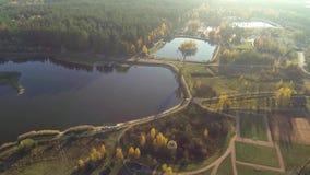 Vista aerea di un lago di autunno in foresta con una vista di occhio dell'uccello stock footage