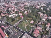 Vista aerea di un parco a Milano fotografia stock libera da diritti