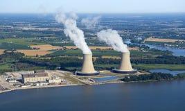 Vista aerea di una centrale nucleare Fotografia Stock Libera da Diritti