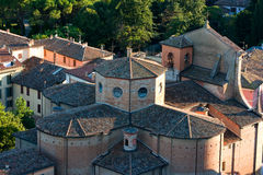 Vista aerea di una chiesa medioeval Fotografia Stock Libera da Diritti