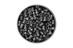 Vista aerea di una latta di alluminio delle palline del cavo del fucile ad aria compressa isolate su fondo bianco con il percorso Fotografia Stock Libera da Diritti