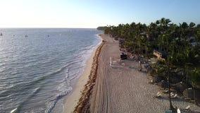 Vista aerea di una spiaggia tropicale un giorno soleggiato Spiaggia di Bavaro, Punta Cana, Repubblica dominicana video del fuco 4 archivi video