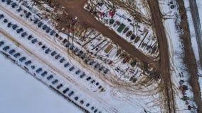 Vista aerea di una vendita del fango di inverno di Amish nel fango immagine stock libera da diritti