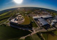 Vista aerea di una zona industriale vicino di Herzogenaurach in Baviera Fotografia Stock Libera da Diritti