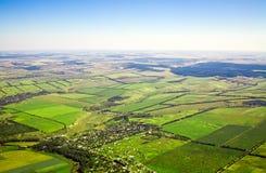Vista aerea di una zona rurale verde Immagini Stock