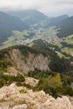 Vista aerea di Val Gardena con Ortisei Fotografia Stock