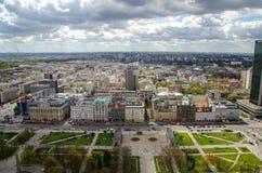 Vista aerea di Varsavia del centro urbano Fotografia Stock Libera da Diritti