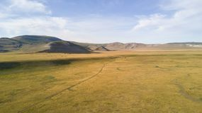 Vista aerea di vasto paesaggio in Mongolia Fotografia Stock