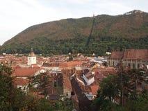 Vista aerea di vecchia città della città rumena brasov Fotografie Stock