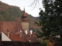 Vista aerea di vecchia città della città rumena brasov Immagine Stock