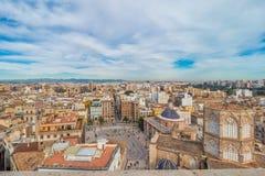 Vista aerea di vecchia città a Valencia Fotografia Stock Libera da Diritti