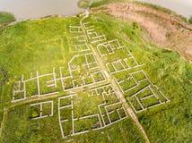 Vista aerea di vecchia fortezza di Histria in Dobrogea Costanza Romani immagine stock libera da diritti