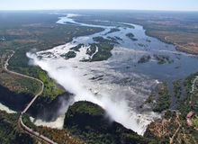Vista aerea di Victoria Falls Fotografie Stock Libere da Diritti
