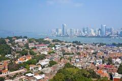 Vista aerea di Xiamen dall'isola di Gulang-yu, Cina Fotografie Stock Libere da Diritti
